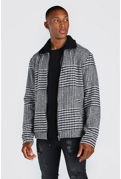 veste harrington à carreaux et col mouton, Noir