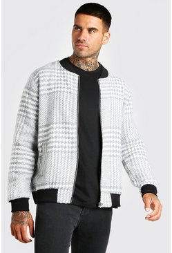 Grey Check Unlined Bomber Jacket