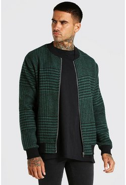 Forest green Check Unlined Bomber Jacket