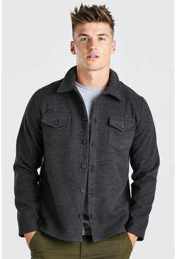 Charcoal grå Melton Button Through Unlined Trucker Jacket