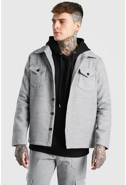 Grey marl grey Melton Button Through Unlined Trucker Jacket