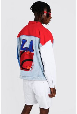 Multi Colour Block Jacket With Back Embroidery