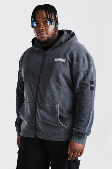 Black Plus Size Full Zip Snood Hoodie