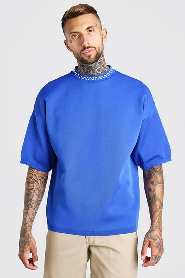Cobalt blue MAN Dash Oversized Knitted T-Shirt