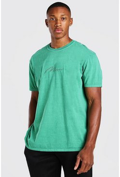 Green grön Man Signature Overdyed T-Shirt