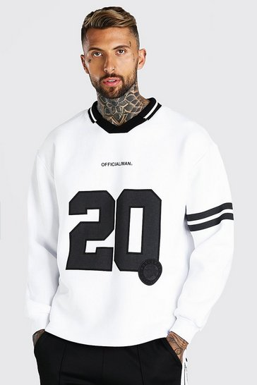 White Oversized Official 20 Polo Sweatshirt