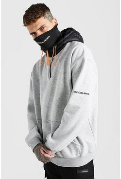 Grey marl grey Scuba Snood Hoodie With Puffer Hood