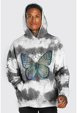 Grey Oversized Butterfly Tie Dye Hoodie With Sleeve Print