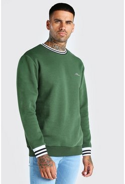 Khaki MAN Signature Sports Rib Sweatshirt