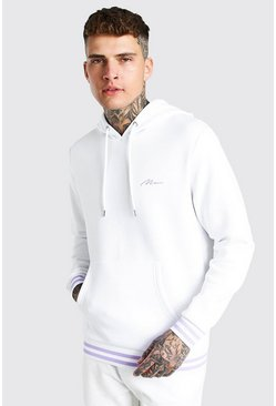 White vit MAN Signature Sports Rib Hoodie