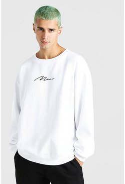 Sweat coupe oversize brodé MAN signature, Blanc