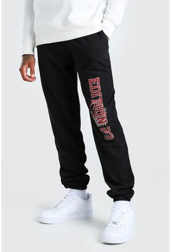 Black Regular Fit Jogger With Leg Print
