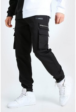 Black MAN Twill Cargo Trouser With Rubber Ankle Detail