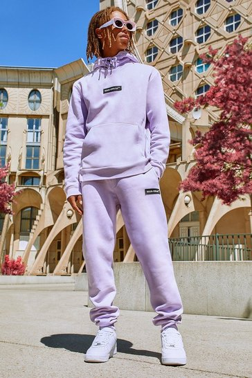 Purple Pop Colour Hooded Tracksuit With Man Tab