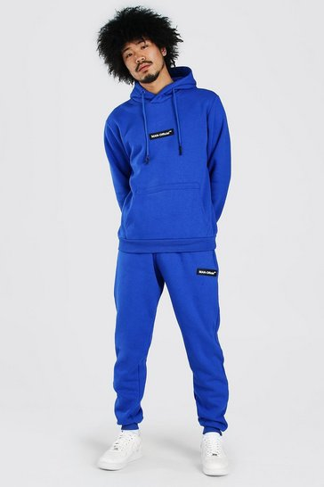 Cobalt blue Pop Colour Hooded Tracksuit With Man Tab