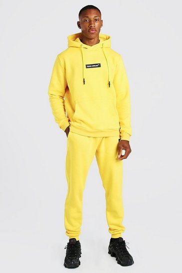 Yellow Pop Colour Hooded Tracksuit With Man Tab