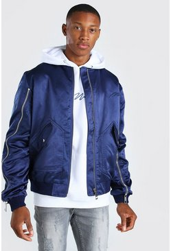 Navy Zip Detail Bomber Jacket With Man Embroidery