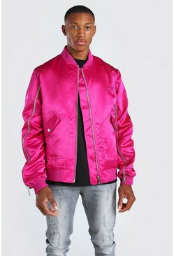 Rose pink pink Zip Detail Bomber Jacket With Man Embroidery