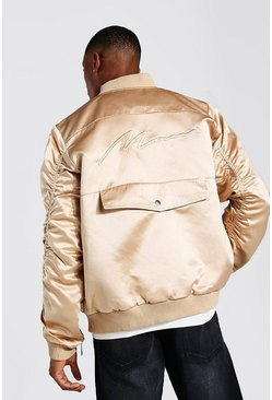 Bronze metallic Zip Detail Bomber Jacket With Man Embroidery