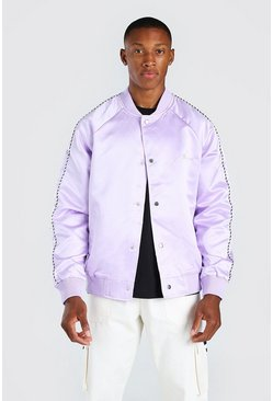 Lilac purple Satin Bomber Jacket With Chest Man Embroidery