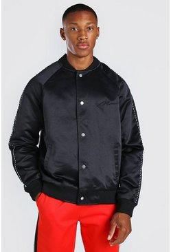 Black Satin Bomber Jacket With Chest Man Embroidery