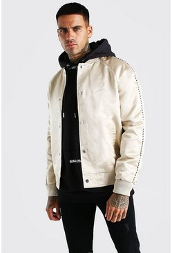 Stone beige Satin Bomber Jacket With Chest Man Embroidery