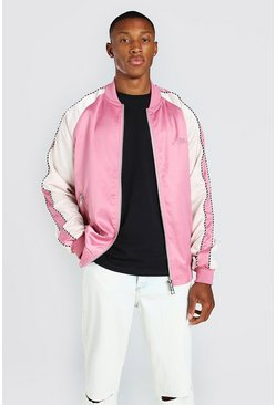 Pink Satin Raglan Bomber With Piping and Man Embroidery