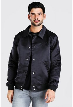 Black Satin Coach Jacket With Chest Man Embroidery