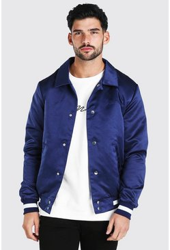 Navy Satin Coach Jacket With Chest Man Embroidery
