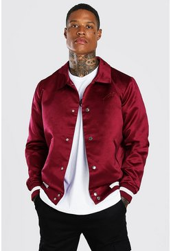 Burgundy red Satin Coach Jacket With Chest Man Embroidery
