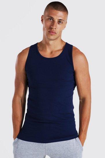 Navy Muscle Fit Basic Vest