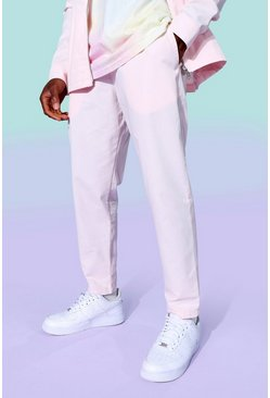 Pink Twill Tapered Elasticated Trousers