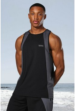 Black Man Active Tonal Colour Block Racer Tank