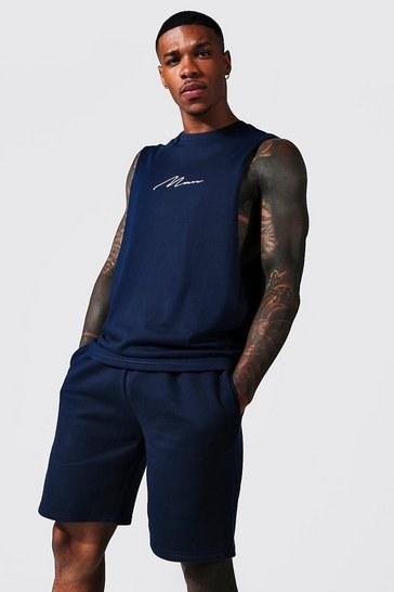 Navy Man Signature Embroidered Drop Armhole Tank