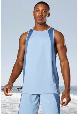 Dusty blue blue Man Active Tonal Colour Block Racer Tank