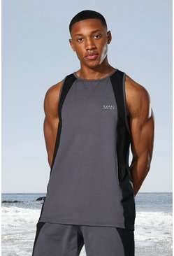Charcoal grey Man Active Tonal Colour Block Racer Tank