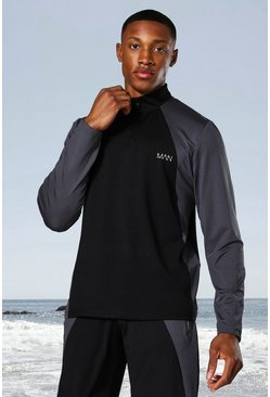 Black Man Active Tonal Colour Block Funnel Neck Top
