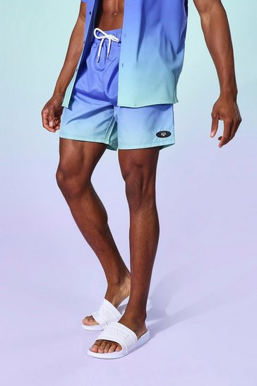 Blue  Ombre Mid Length Swim Short