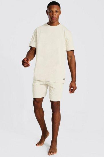 Ecru white Man Dash Jacquard Waistband Lounge Short Set