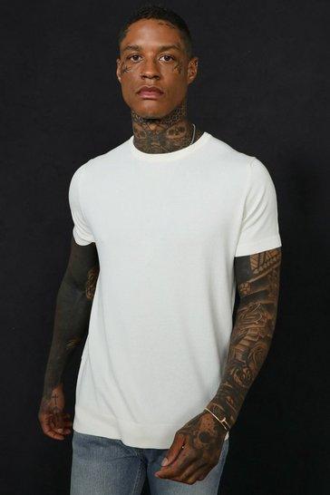 Cream white Basic Knitted T-shirt