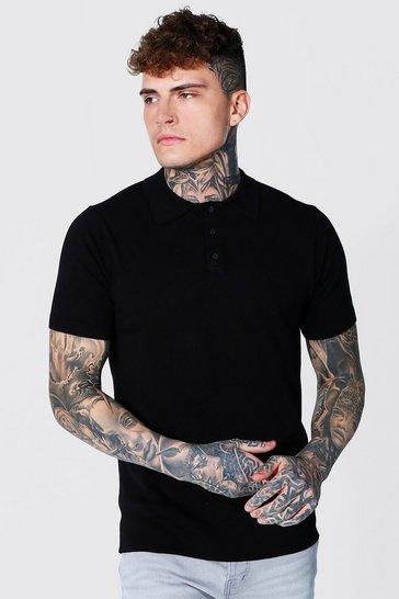 Black Short Sleeve Regular Fit Knitted Polo
