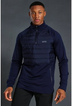 Navy Man Active Quilted 1/4 Zip Top