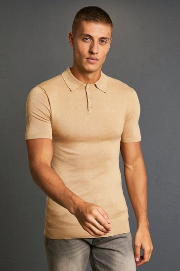 Camel beige Short Sleeve Muscle Fit Knitted Polo