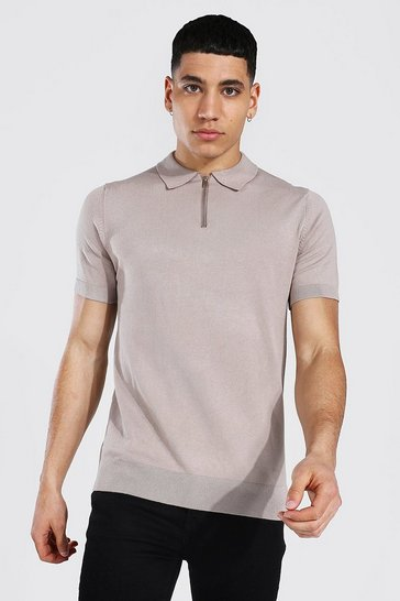 Taupe beige Short Sleeve Half Zip Knitted Polo
