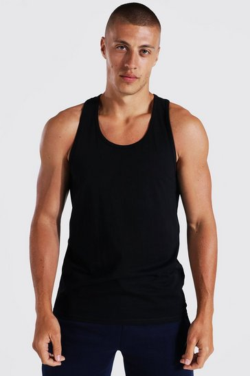 Black Basic Racer Vest