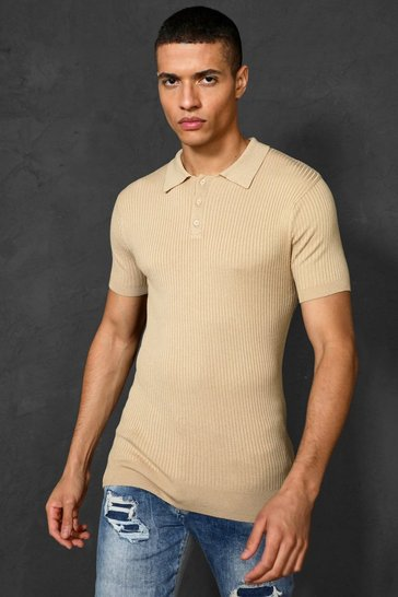 Camel beige Short Sleeve Muscle Fit Ribbed Knit Polo