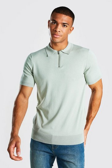 Sage green Short Sleeve Half Zip Knitted Polo