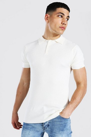 Cream white Short Sleeve Muscle Fit Ribbed Knit Polo