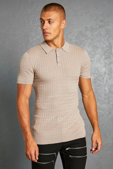 Taupe beige Short Sleeve Muscle Fit Cable Polo
