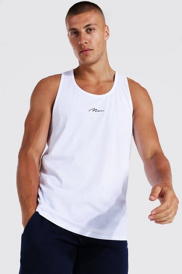 White Man Signature Embroidered Racer Vest